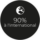 90% à l'international