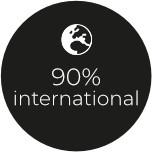 90% international